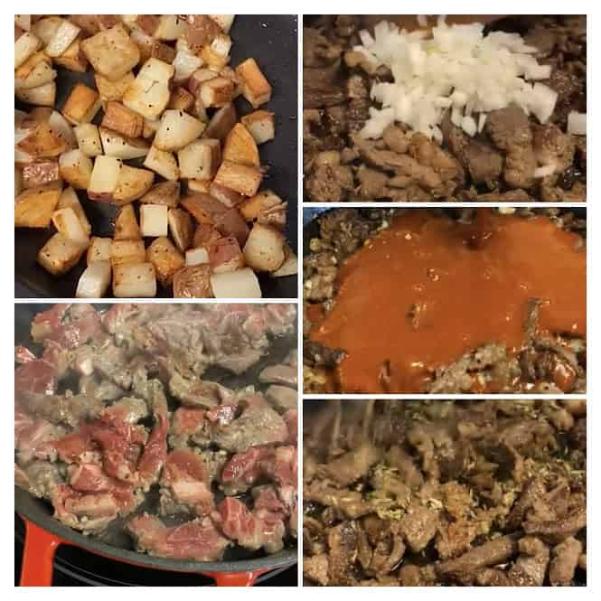collage of beef and potato in skillet at different stages