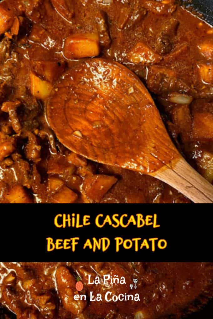 pinterest image of carne con papa with test and graphics