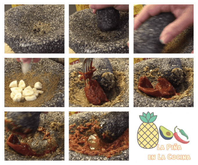 collage of grinding in ingredients in Mexican molcajete, mortar and pestle