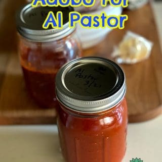 Al Pastor Adobo In jars with header for pinterest