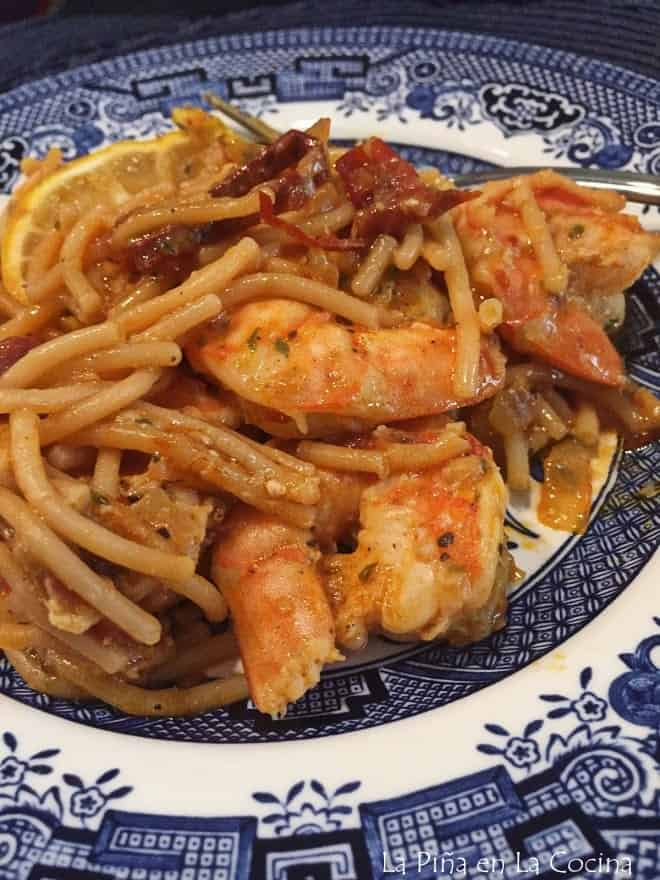 Close up of fideo with shrimp on plate