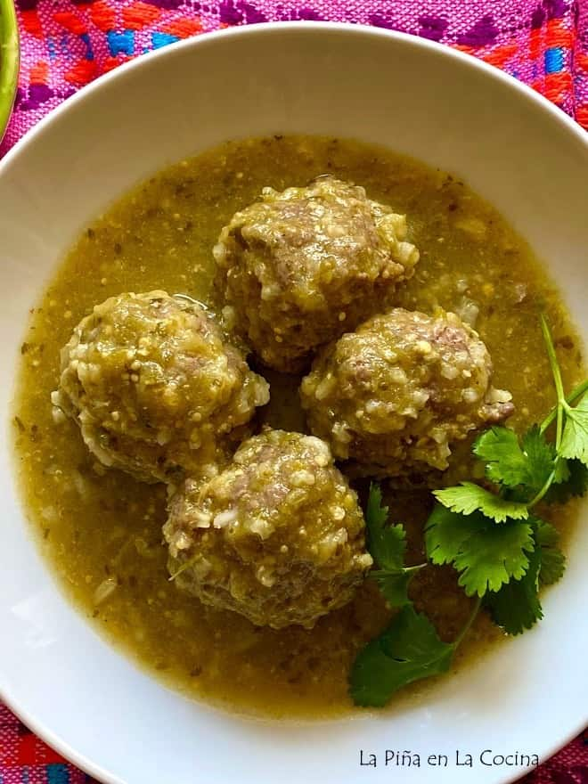 top view mexican meatballs in salsa