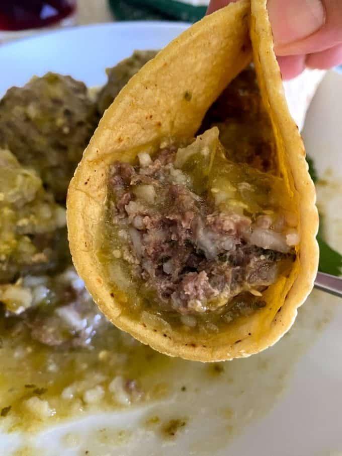 Taco of mexican meatballs