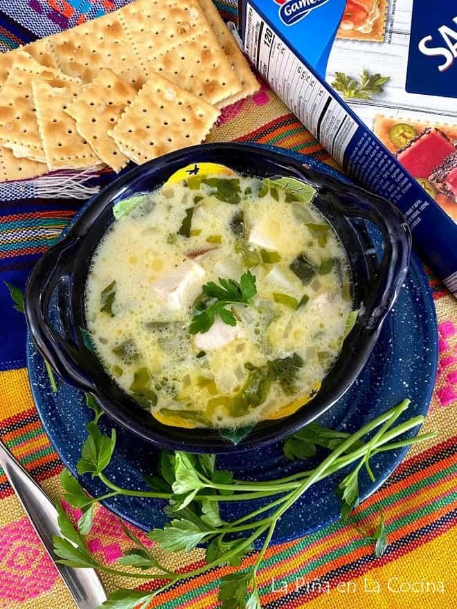 fish chowder plated in medium bowl