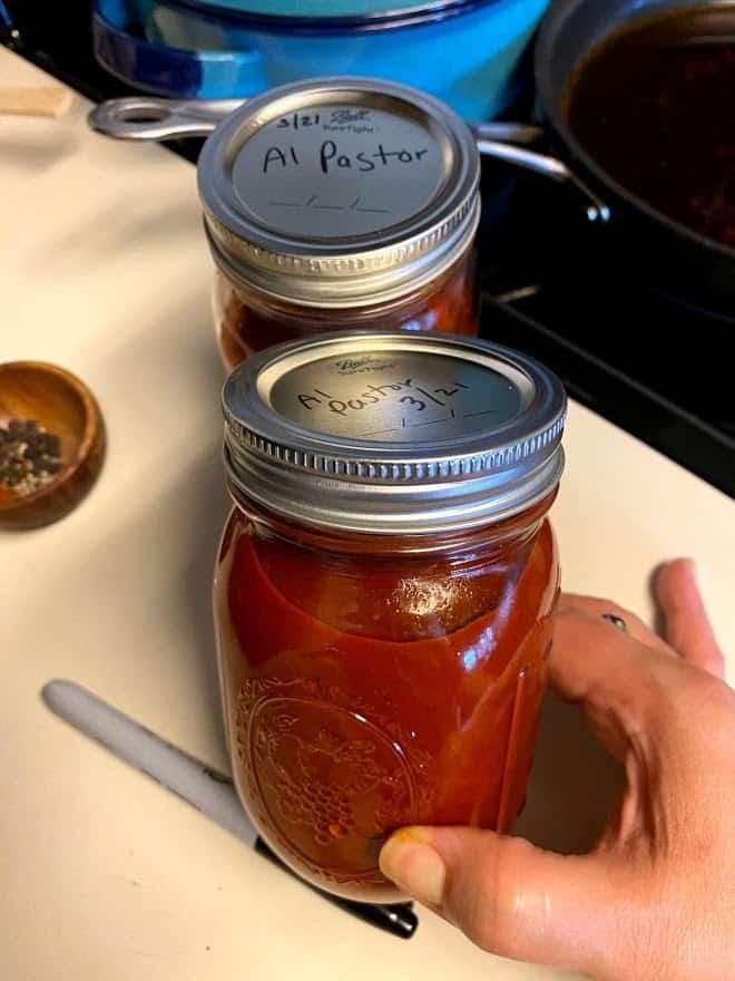 adobo in glass jars