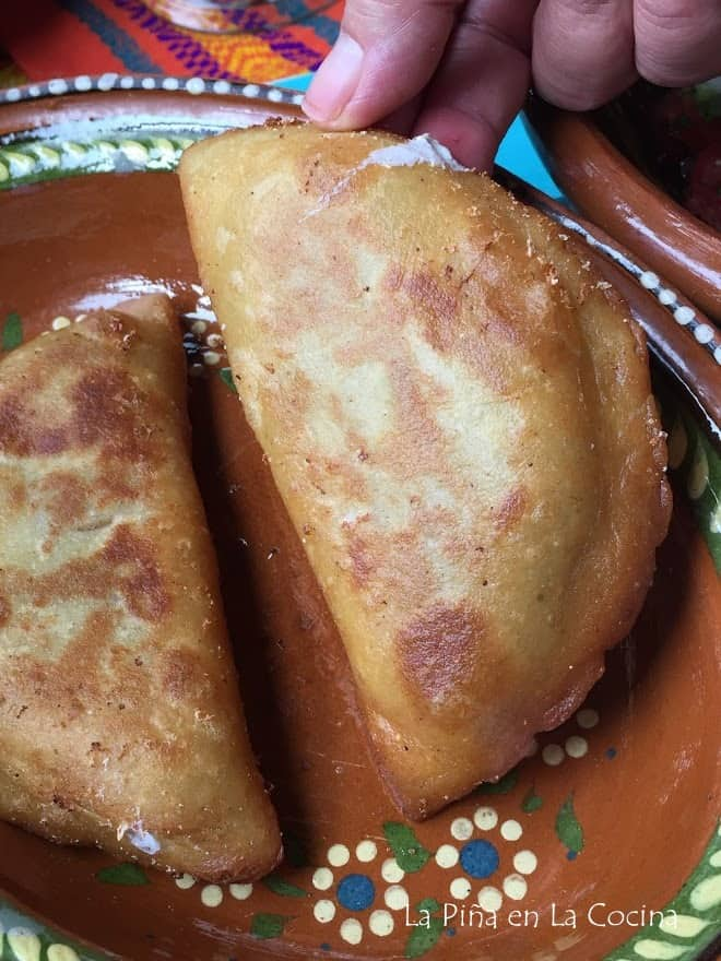 close up of fried quesadilla
