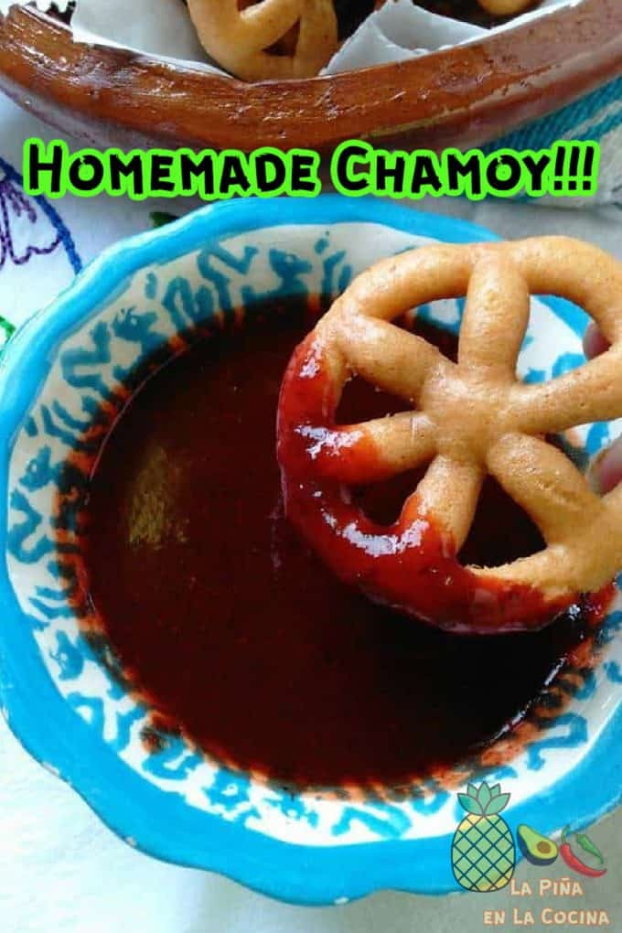 Pinterest image of chamoy in bowl with header