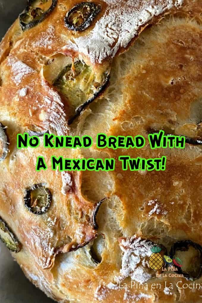 Pinterest image of No Knead Bread Loaf with Text