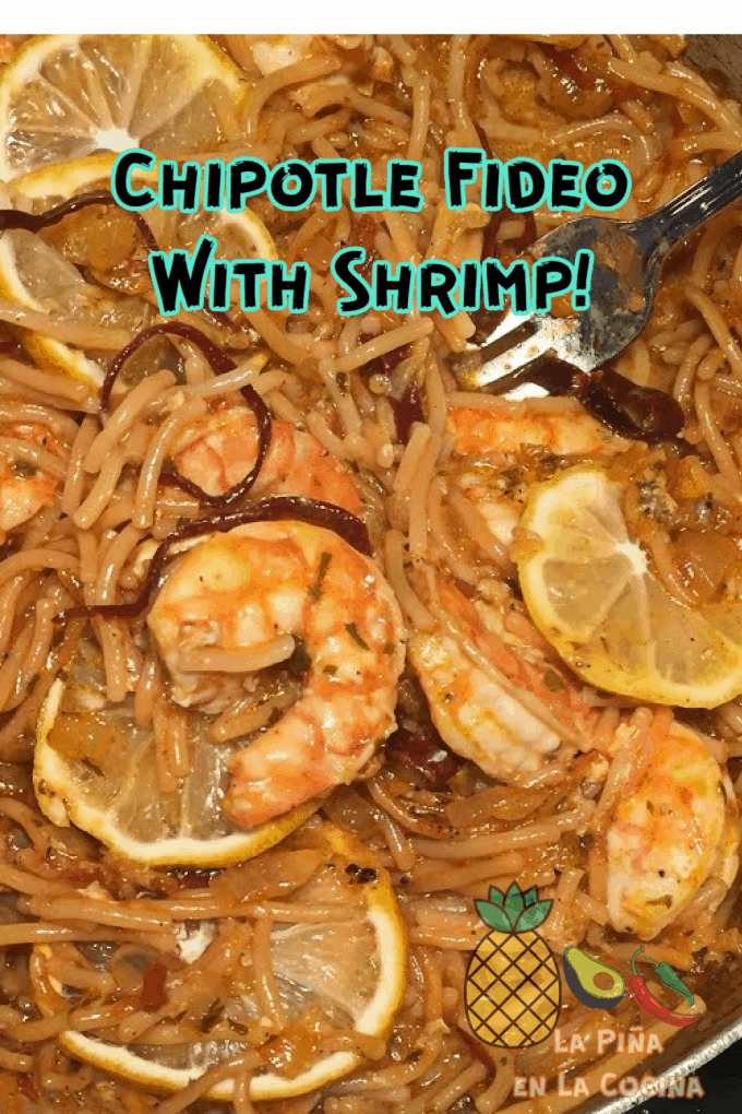 Pinterest image of fideo with shrimp close up