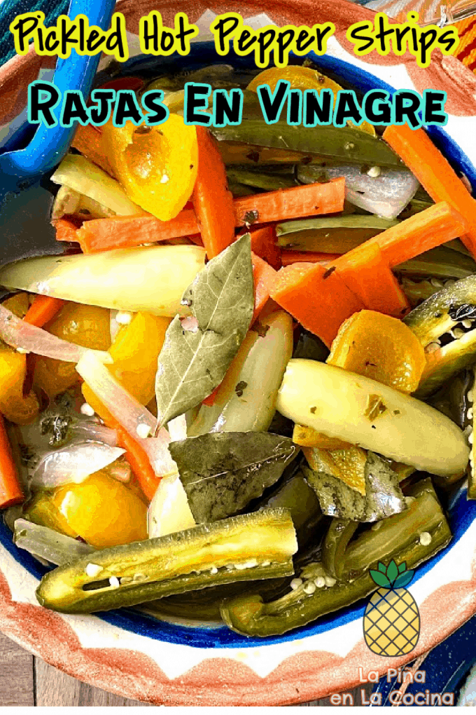 Pinterest image with header for pickled hot pepper strips close up