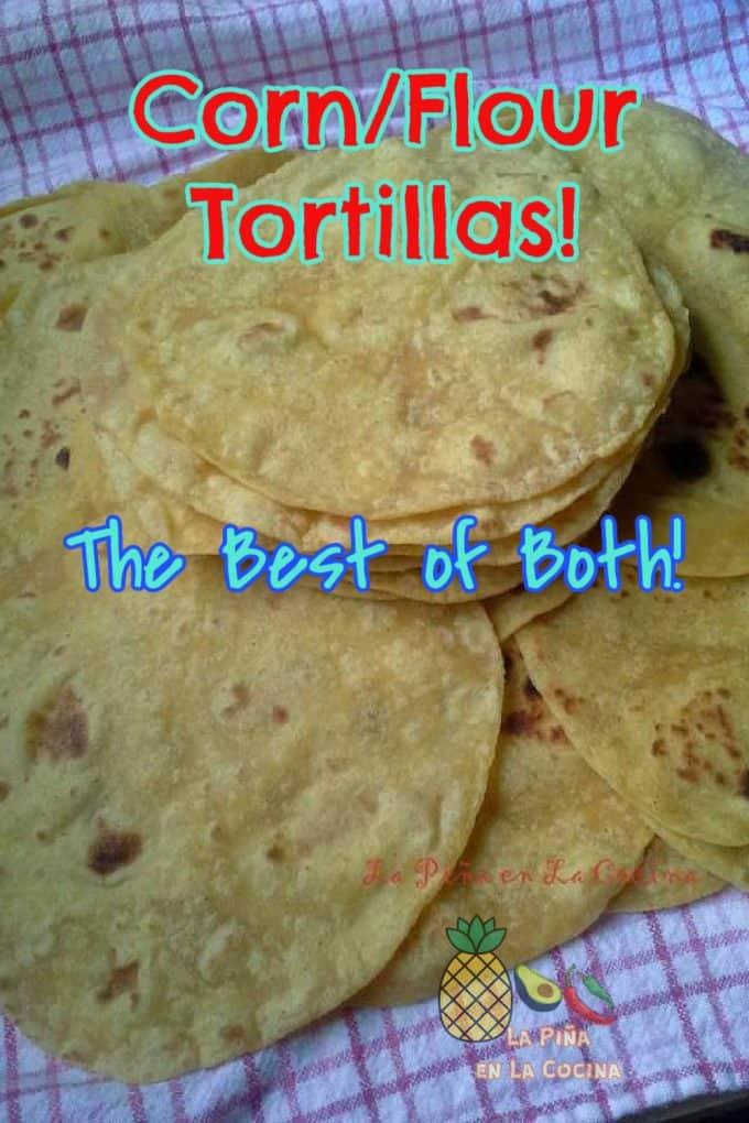 pinterest image of flour corn tortillas