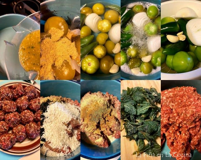 collage of ingredients for salsa verde and mexican meatballs