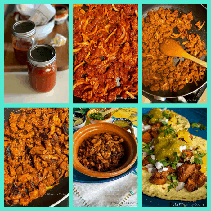 collage of stove top al pastor meat for tacos