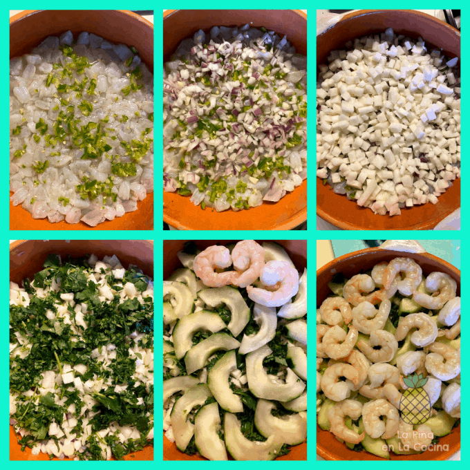 collage of shrimp ceviche layers