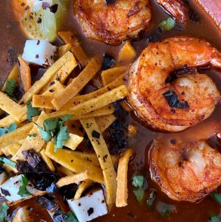 close up of spicy tortilla soup With shrimp