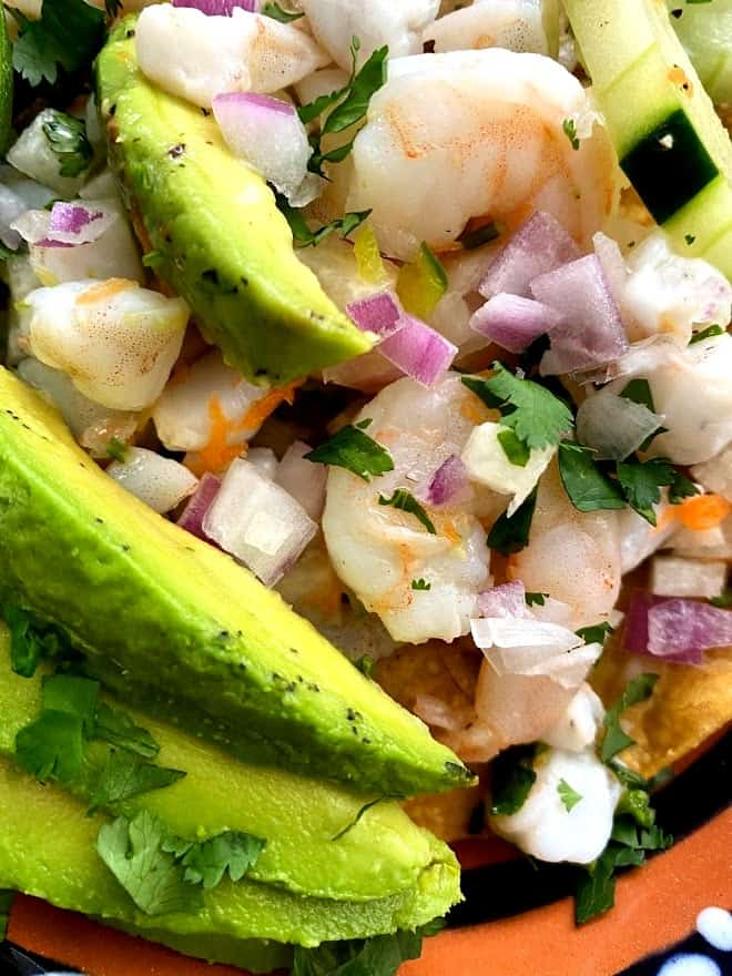 close up of shrimp ceviche