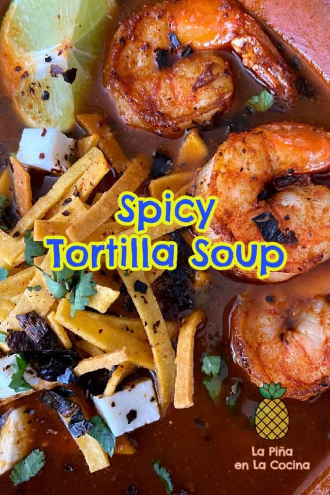 Pinterest image of spicy tortilla soup with shrimp close up