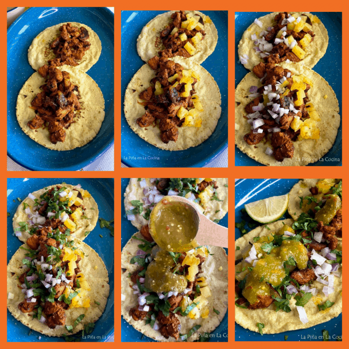 Collage of al pastor tacos step by step garnishes