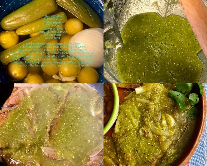 Collage of salsa verde