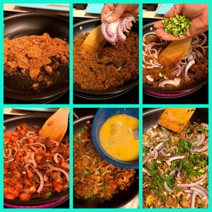 collage of beef and egg scramble preparation