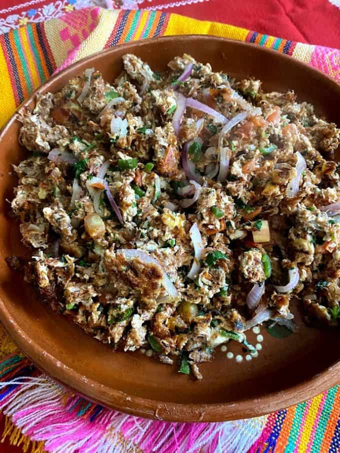 beef and egg scramble on mexican plate