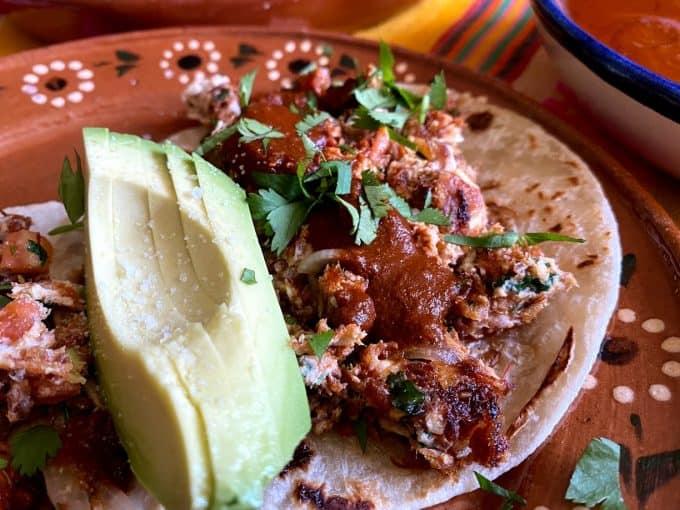 close up of machacado tacos