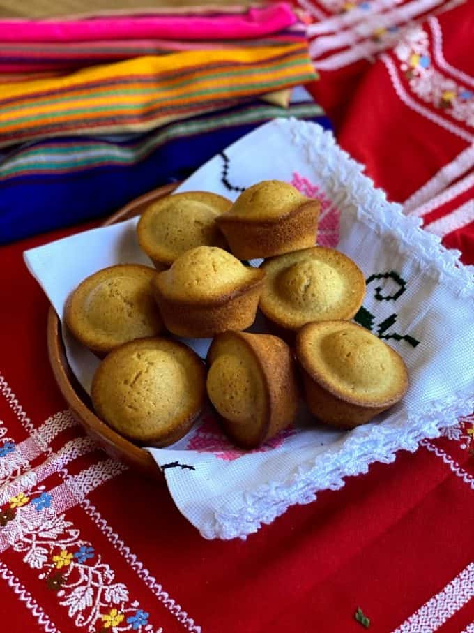 plate full of mantecadas with mexican linens