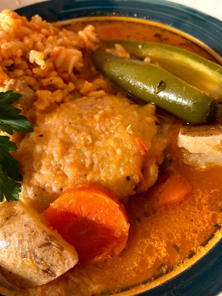 close up of chicken stew