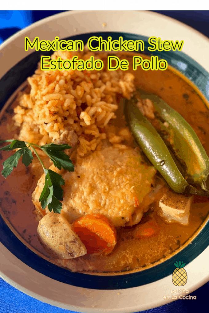 Pinterest image of chicken stew with header
