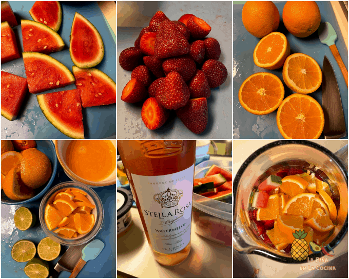 collage of fruit and wine used in sangria