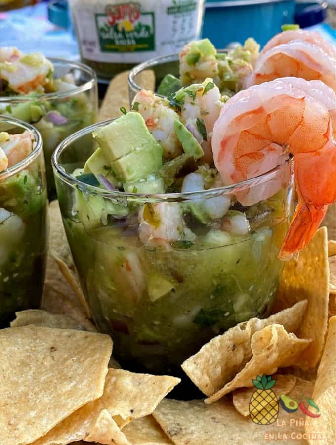 close up of shrimp ceviche in a glass