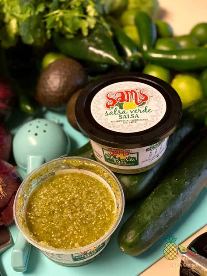 Sam's Salsa Verde in container with lid off
