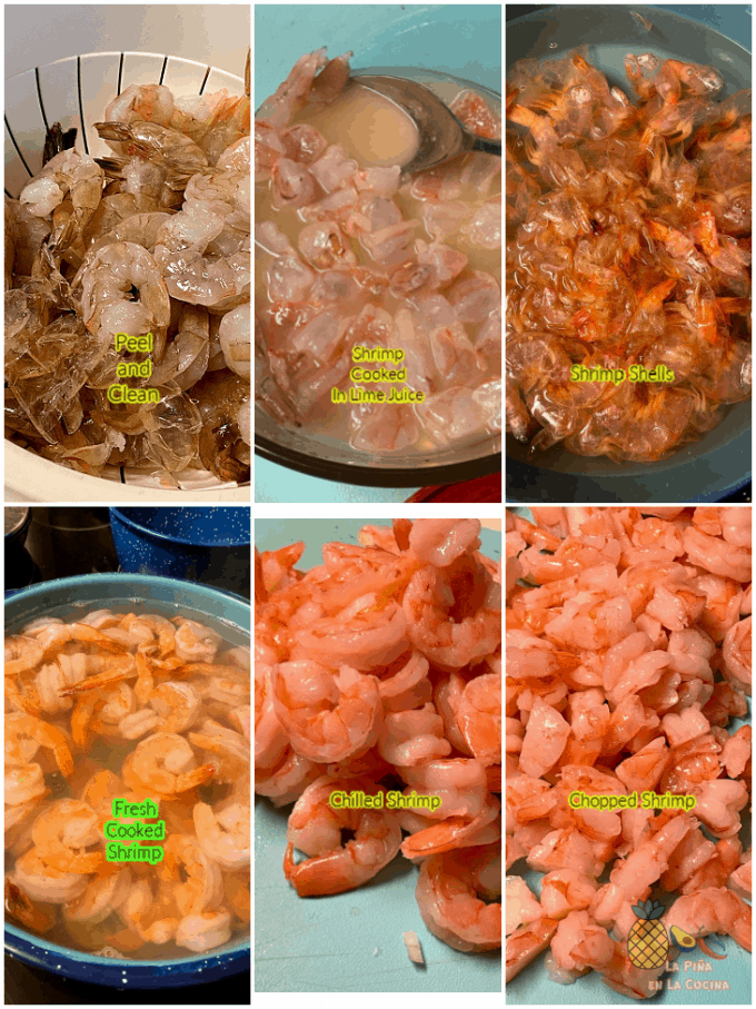 a collage of shrimp being prepared for ceviche
