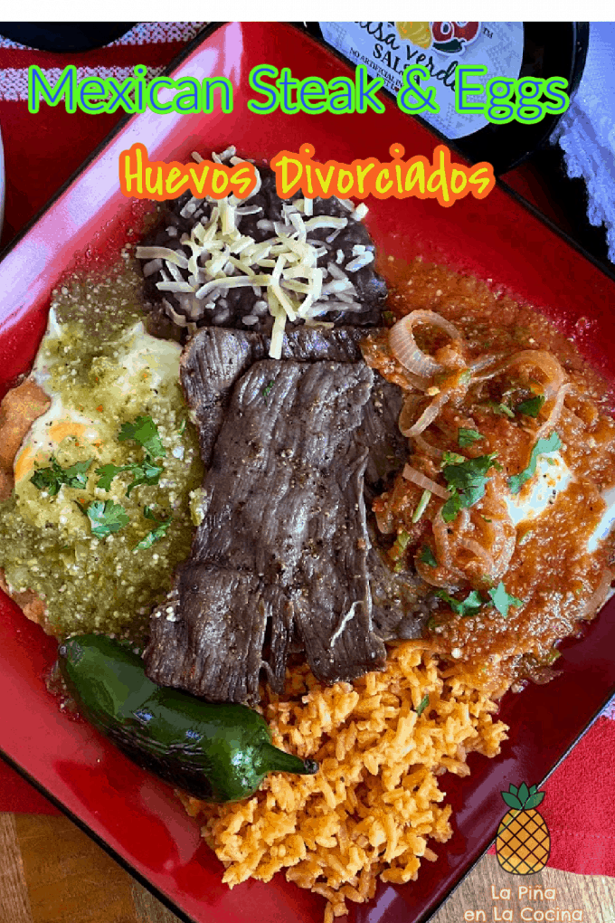 pinterest image of mexican steak and eggs plated with title