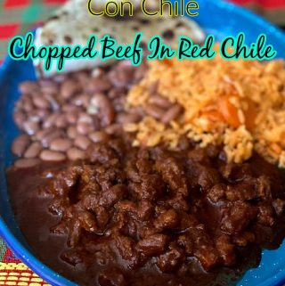pinterest image of chopped beef in red chile
