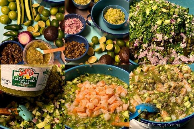 collage of salsa verde shrimp ceviche