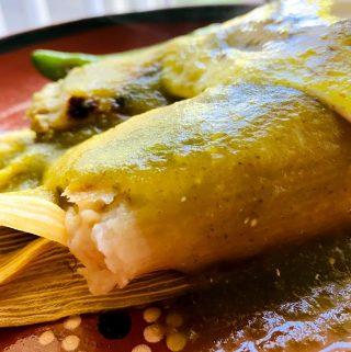 salsa verde over tamales