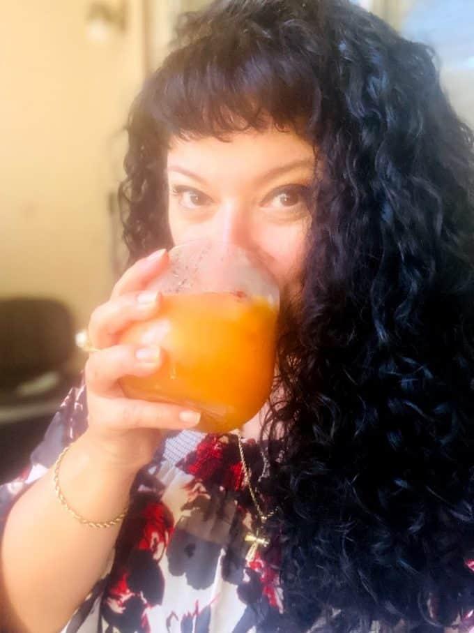 me, enjoying a big cold glass of agua fresca!
