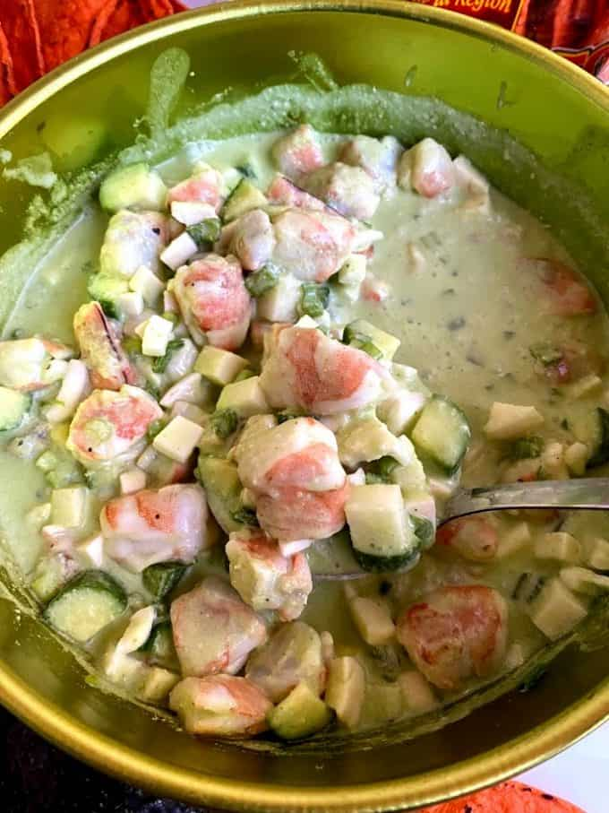 close up of shrimp ceviche in bowl