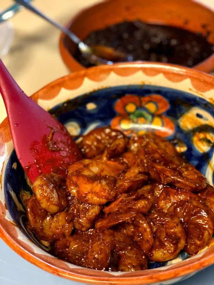 shrimp mixed with salsa negra