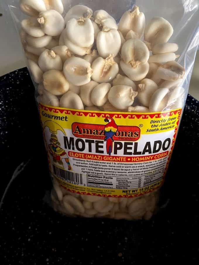 mote pelado bag of dried maiz
