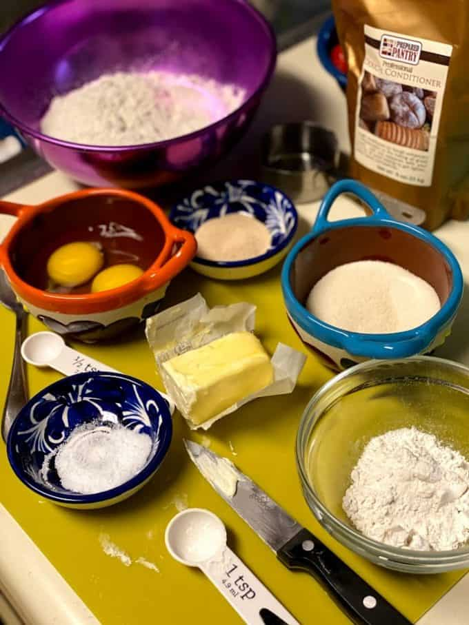ingredients measured out for concha dough