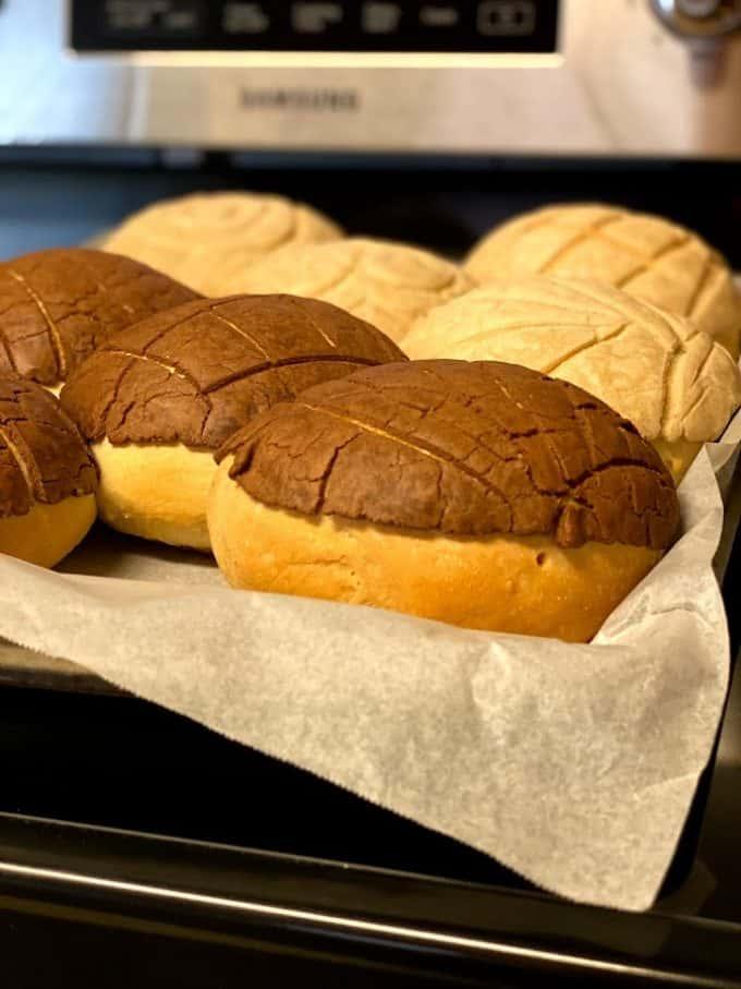freshly baked conchas