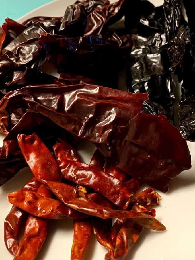 Dried chiles used in the recipe