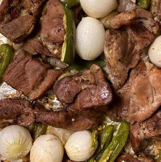 pork carnitas on sheet pan up close