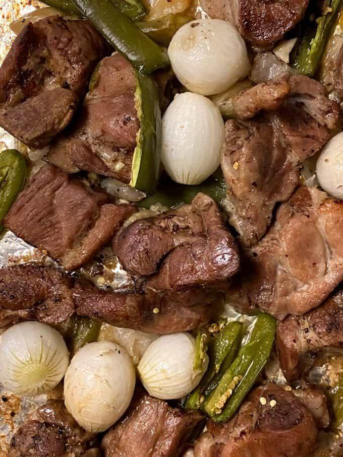 roasted carnitas on sheet pan up close