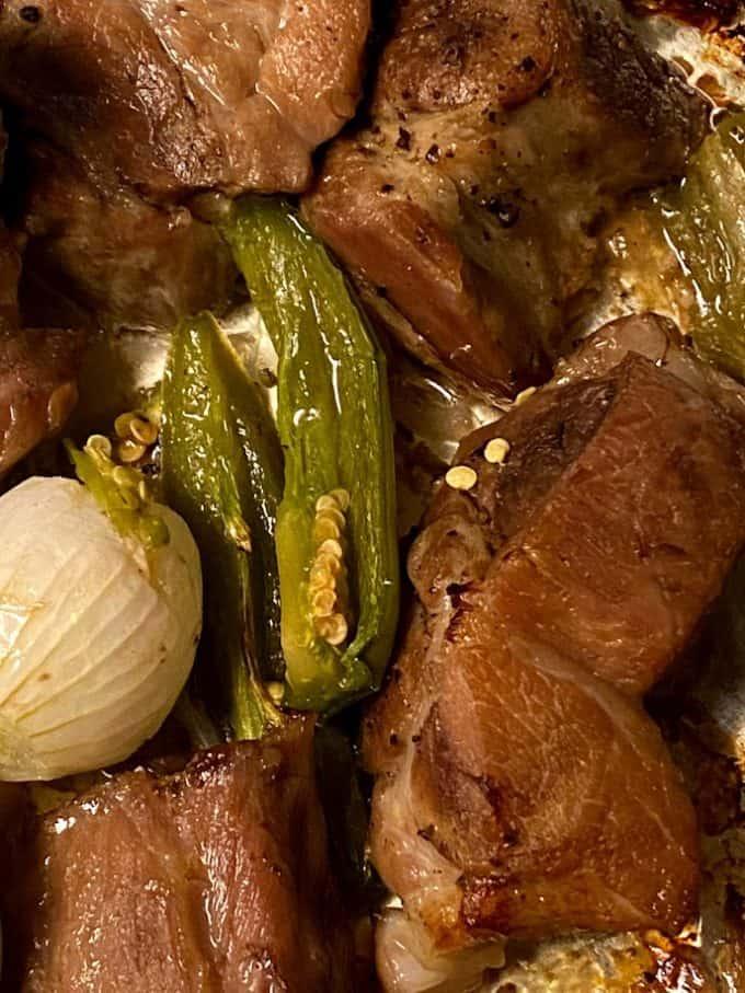 sheet pan carnitas on baking sheet up close