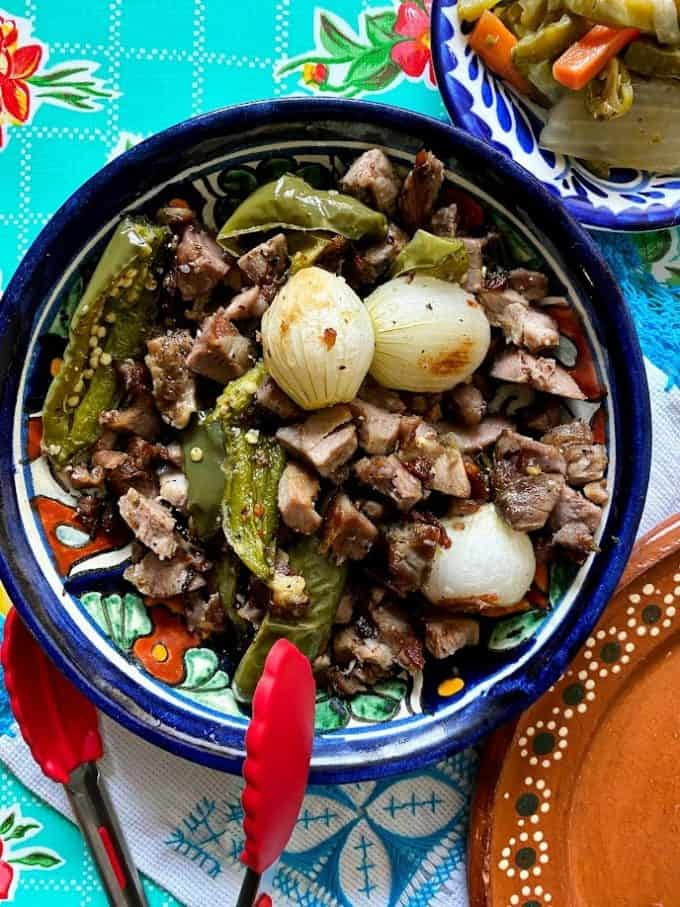 bowl of diced carnitas ready for tacos