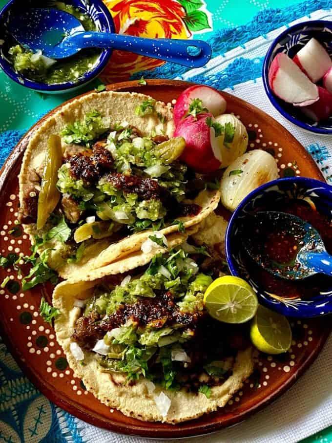 pork carnitas tacos plated