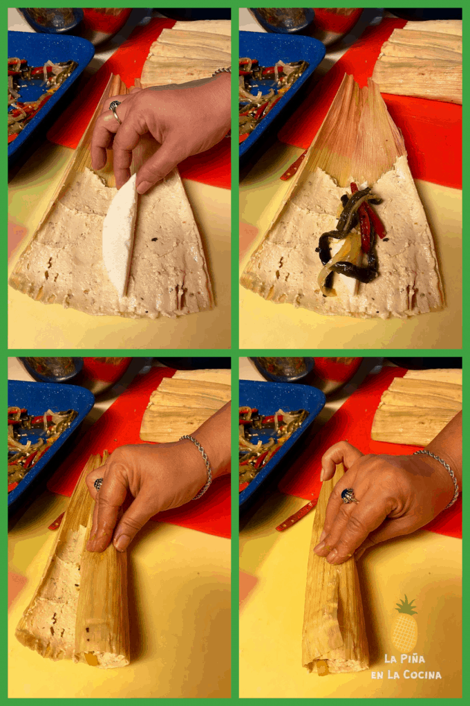 collage on how to fill tamales